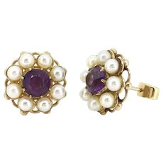 Antique Victorian Amethyst and pearls studs, 9kt gold