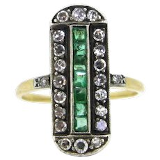 Antique Victorian Emeralds and diamonds ring, 18kt gold and silver, circa 1880