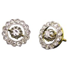 Beautiful Edwardian Diamonds studs, 18kt gold and platinum, circa 1910