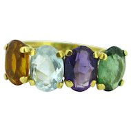 Vintage Tourmaline, Amethyst, Citrine, Aquamarine Ring, 18kt Yellow Gold
