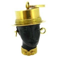 Vintage Blackamoor Ebony Pendant, 18kt gold, circa 1960