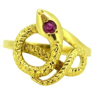Vintage French Snake ring, 18kt yellow gold,