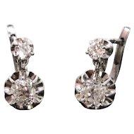 French Dormeuses earrings, diamonds, platinum, c.1925