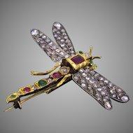 Victorian Dragonfly Brooch, Diamond Ruby Emerald, 18kt Gold & Silver