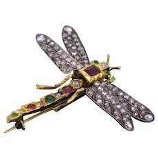 Victorian Dragonfly Brooch, Diamond Ruby Emerald, 18kt Gold & Silver