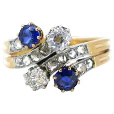Antique French Sapphires and diamonds ring, circa 1910