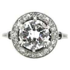 Art Deco Solitaire Diamonds cluster ring, platinum, France, circa 1925
