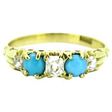 Victorian Turquoises and diamonds ring, 18kt yellow gold, circa 1880