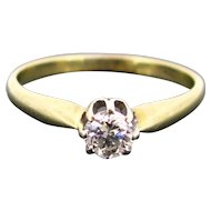 Retro Diamond Single-stone Solitaire ring, 9kt and 14kt gold circa 1940