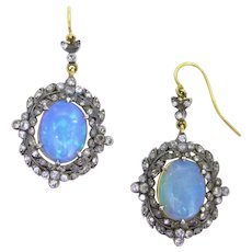 Antique Victorian Opals and diamonds hooks earrings, Vermeil and silver, circa 1880