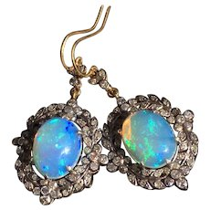 Victorian Style Opals and diamonds earrings, 20th century