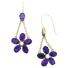Antique Victorian Amethysts and pearls earrings, 15kt gold, circa 1880