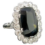 Belle Epoque / Edwardian Sapphire Diamond Cluster Ring, Platinum