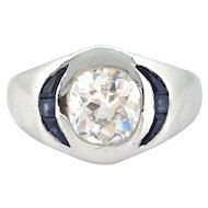 Art Deco Cushion Cut Diamond and Sapphire Gypsy ring, platinum, circa 1925