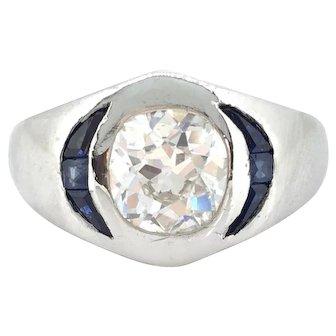 Art Deco Cushion Cut Diamond and Sapphire Gypsy ring, platinum, circa 1925