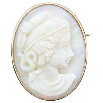Vintage Greek Style Lady Opal Cameo, 14kt Gold