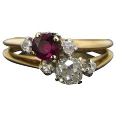 Antique Ruby Diamond Toi et Moi Ring 18kt Gold and Platinum, circa 1910