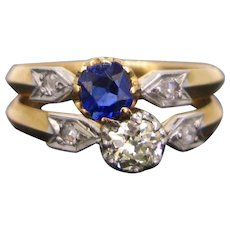 Antique Sapphire Diamond Toi et Moi Ring 18kt Yellow Gold and Platinum, circa 1910