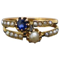 Antique Victorian Toi et Moi Sapphire and pearl ring, circa 1880