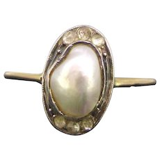 French Art Nouveau Mabé Pearl and diamonds ring, circa 1905