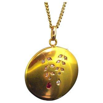 Antique Art Nouveau Ruby and Diamonds locket, 18kt gold circa 1900