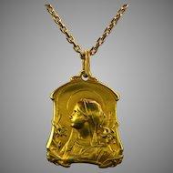 Antique Art Nouveau Medal, 18kt gold, France circa 1900