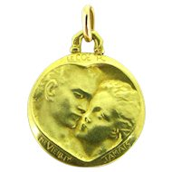 French Love Medal, 18kt gold by MONIER