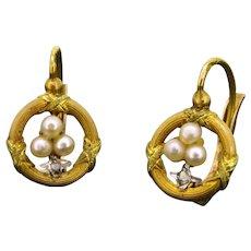 Lovely Antique French Dormeuses earrings, trefoil design, c.1900