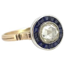 Edwardian Foiled back rose cut diamond and sapphires target ring, 18kt gold and platinum, circa 1915
