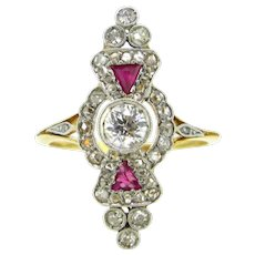 Antique French Belle Epoque Diamonds and Rubies Marquise Ring, 18kt Gold and platinum