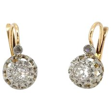 Antique French Diamonds Dormeuses, 18kt Gold and platinum
