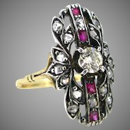 Antique Victorian Diamonds and rubies ring, 18kt gold and silver, circa 1880
