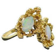 Vintage Opal Twist Ring, 14kt Yellow Gold