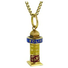 RARE Vintage French pendant / Charm: The Colonne Morris, FRANCE, 18kt gold and enamel