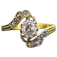 French Belle Epoque Diamonds ring, 18kt gold and platinum, circa 1910