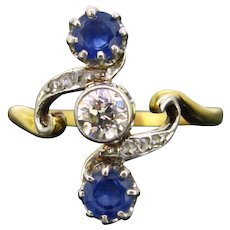 French Belle Epoque Sapphires and Diamonds ring, circa 1905