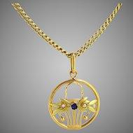 Antique French Art Nouveau Flowers Basket pendant, 18kt gold, circa 1905