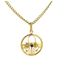 Antique French Art Nouveau Flowers Basket pendant, 18kt gold, circa 1905