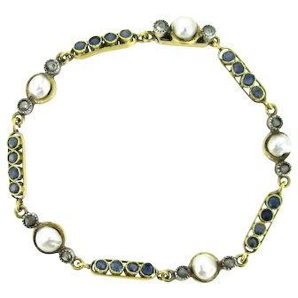 Antique Edwardian French Natural Pearls and Sapphires bracelet, circa 1905