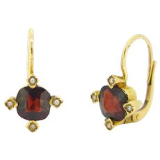 Antique Victorian Almandine Garnet and pearls dormeuses, 18kt gold, circa 1880 - Red Tag Sale Item