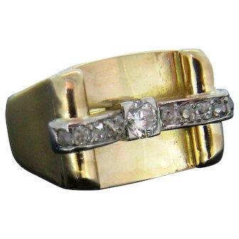 Retro Diamond Ring, 18kt Yellow Gold, circa 1940