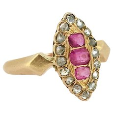 Antique Victorian Rubies and diamonds Marquise ring