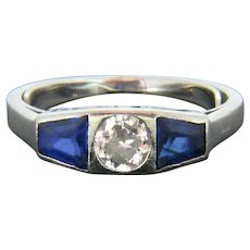 Art Deco Diamond and Synthetic Sapphire Ring, Platinum, circa 1925
