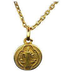 Vintage St Benedict Protection Medal Pendant, 18kt gold, France