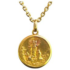 French Antique Religious Medal, 18kt yellow gold, France