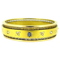 Antique French Victorian Sapphire and Diamonds Bangle, 18kt yellow and rose gold, circa 1880