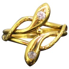 Antique Victorian Diamonds Snake ring, 18kt gold, France, circa 1880
