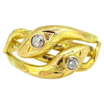 Victorian Snake Diamonds Ring, 18kt gold, France, circa 1880