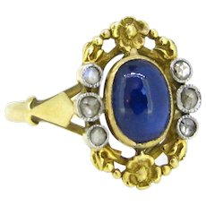 Art Nouveau Sapphire and Diamonds Flower ring, France, 18kt gold and platinum, circa 1905