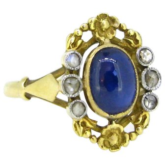 Art Nouveau Sapphire and Diamonds Flower ring, France, 18kt gold and platinum, circa 1905